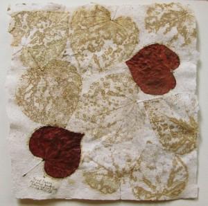 Empreintes et collages de feuilles. Oeuvre de Sandrine de Borman
