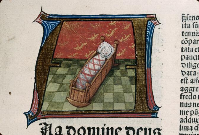 Enluminure d'enfant au berceau, 1402